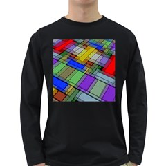 Abstract Background Pattern Long Sleeve Dark T-Shirts