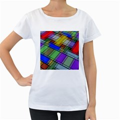 Abstract Background Pattern Women s Loose-Fit T-Shirt (White)