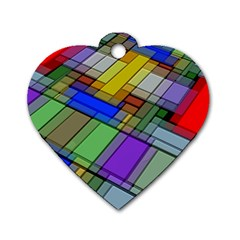 Abstract Background Pattern Dog Tag Heart (One Side)