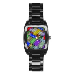 Abstract Background Pattern Stainless Steel Barrel Watch