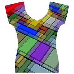 Abstract Background Pattern Women s V-Neck Cap Sleeve Top