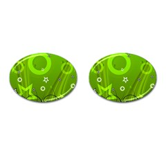 Art About Ball Abstract Colorful Cufflinks (Oval)