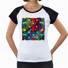 Art Rectangles Abstract Modern Art Women s Cap Sleeve T