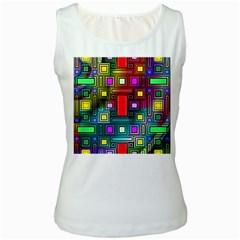 Art Rectangles Abstract Modern Art Women s White Tank Top