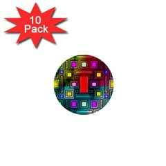 Art Rectangles Abstract Modern Art 1  Mini Buttons (10 pack)