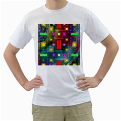 Art Rectangles Abstract Modern Art Men s T-Shirt (White) (Two Sided)