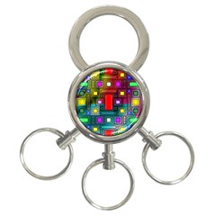 Art Rectangles Abstract Modern Art 3-Ring Key Chains