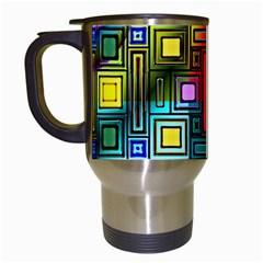 Art Rectangles Abstract Modern Art Travel Mugs (White)