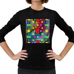 Art Rectangles Abstract Modern Art Women s Long Sleeve Dark T-Shirts