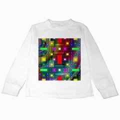 Art Rectangles Abstract Modern Art Kids Long Sleeve T-Shirts