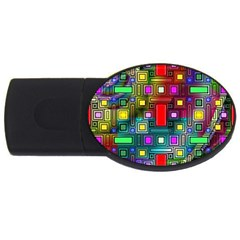 Art Rectangles Abstract Modern Art USB Flash Drive Oval (4 GB)