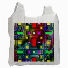 Art Rectangles Abstract Modern Art Recycle Bag (Two Side)