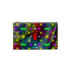 Art Rectangles Abstract Modern Art Cosmetic Bag (Small)