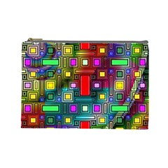 Art Rectangles Abstract Modern Art Cosmetic Bag (Large)