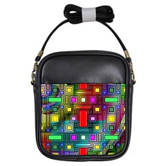 Art Rectangles Abstract Modern Art Girls Sling Bags