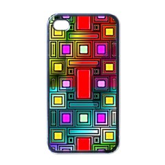 Art Rectangles Abstract Modern Art Apple iPhone 4 Case (Black)