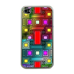 Art Rectangles Abstract Modern Art Apple iPhone 4 Case (Clear)
