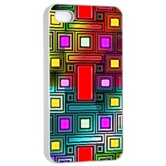 Art Rectangles Abstract Modern Art Apple iPhone 4/4s Seamless Case (White)