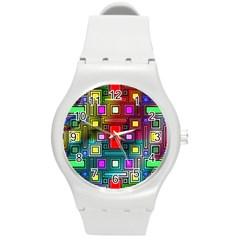 Art Rectangles Abstract Modern Art Round Plastic Sport Watch (M)