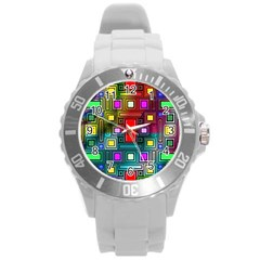 Art Rectangles Abstract Modern Art Round Plastic Sport Watch (L)
