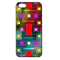 Art Rectangles Abstract Modern Art Apple iPhone 5 Seamless Case (Black)