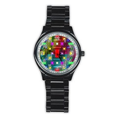 Art Rectangles Abstract Modern Art Stainless Steel Round Watch