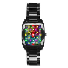 Art Rectangles Abstract Modern Art Stainless Steel Barrel Watch