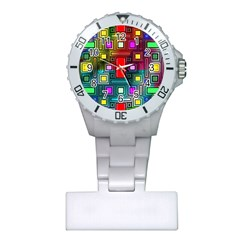 Art Rectangles Abstract Modern Art Plastic Nurses Watch