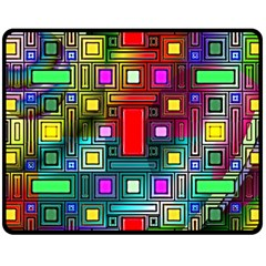Art Rectangles Abstract Modern Art Double Sided Fleece Blanket (Medium)
