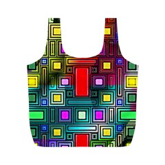 Art Rectangles Abstract Modern Art Full Print Recycle Bags (M)