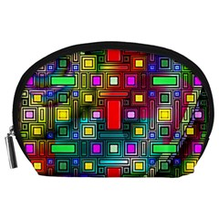 Art Rectangles Abstract Modern Art Accessory Pouches (Large)