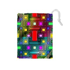 Art Rectangles Abstract Modern Art Drawstring Pouches (Medium)