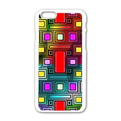 Art Rectangles Abstract Modern Art Apple iPhone 6/6S White Enamel Case
