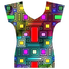 Art Rectangles Abstract Modern Art Women s V-Neck Cap Sleeve Top