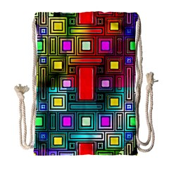Art Rectangles Abstract Modern Art Drawstring Bag (Large)