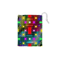 Art Rectangles Abstract Modern Art Drawstring Pouches (XS)