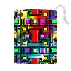 Art Rectangles Abstract Modern Art Drawstring Pouches (Extra Large)