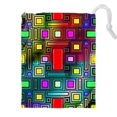 Art Rectangles Abstract Modern Art Drawstring Pouches (XXL)