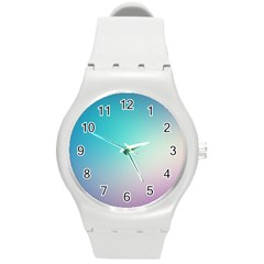 Background Blurry Template Pattern Round Plastic Sport Watch (M)