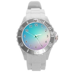Background Blurry Template Pattern Round Plastic Sport Watch (L)