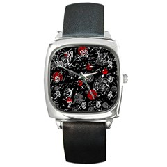 Red mind Square Metal Watch