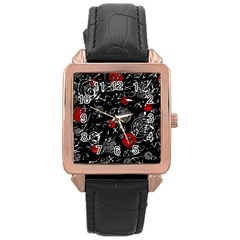 Red mind Rose Gold Leather Watch