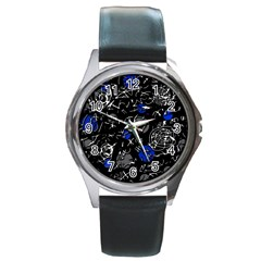 Blue mind Round Metal Watch