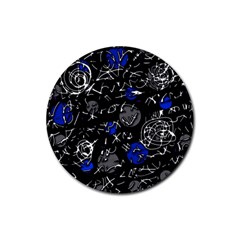 Blue mind Rubber Coaster (Round)
