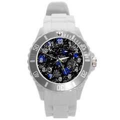 Blue mind Round Plastic Sport Watch (L)
