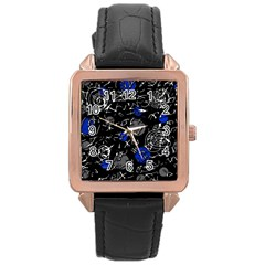Blue mind Rose Gold Leather Watch