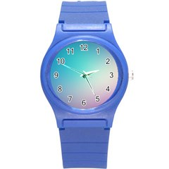 Background Blurry Template Pattern Round Plastic Sport Watch (S)