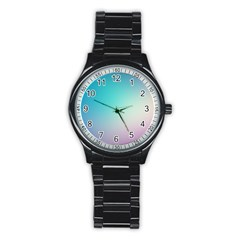 Background Blurry Template Pattern Stainless Steel Round Watch