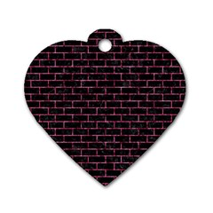Brick1 Black Marble & Pink Marble Dog Tag Heart (two Sides)