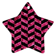 Chevron1 Black Marble & Pink Marble Star Ornament (two Sides)